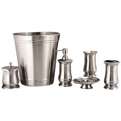 FASHION HOME Sienna 7 Piece Stainless Steel Bathroom Accessory Set $99.95 FREE SHPG OR PICK UP AVAILABLE - ROSSI HOME GOODS LOCATED IN NJ & CA - SHOP HERE: bonanza.com/rossico