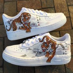 Browse all products from Customs by Leanne. Custom Painted Shoes, Custom Shoes, Customised Shoes, Custom Af1, Zapatillas Nike Air Force, Vetements Shoes, Tenis Vans, Nike Shoes Air Force, Aesthetic Shoes