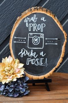 Wedding Chalkboard - Photobooth Chalkboard / http://www.deerpearlflowers.com/tree-stumps-wedding-ideas-for-rustic-country-weddings/2/