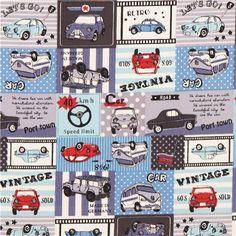 blue-grey Kokka retro vehicle car oxford fabric for boys from Japan 1