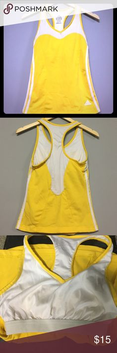 Adidas Racerback Gently preloved 💚 no flaws no stains. Vibrant yellow with white accents. Adidas Tops Tank Tops