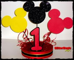 Mickey Mouse Centerpiece  Mickey Mouse Party  by GlitterMagic23s, $28.00