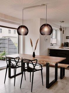 Dining Room Bench Seating, Dining Room Design, Dining Room Furniture, Table Dépliante, Minimalist Dining Room, Living Room Decor Inspiration, Tiny House Living, Home Decor Kitchen, Home Interior Design