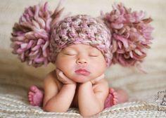 Baby Girl Hat Pom Pom Beanie Hat Infant Hat Crochet Baby Hat Photo Photography Prop Newborn Hat Winter Hat Pink Brown Cream Ivory Beige