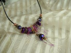 Purple and Pink Sparkle Fiber Necklace by conniescloset on Etsy, $38.00