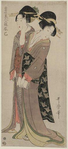 喜多川歌麿 Utamaro Kitagawa『当世美人三遊 辰巳』