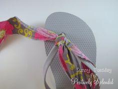 No-Sew Embellished Flip Flops