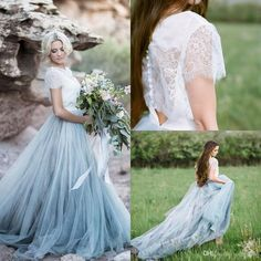 2017 Fairy Beach Boho Lace Wedding Dresses With Detachable Lace Jacket Soft Tulle Light Blue Skirts Plus Size Bohemian Bridal Gowns Backless Long Wedding Dresses Plain Wedding Dresses From Cc_bridal, $85.69| Dhgate.Com