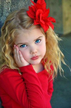 such cute little girl, blond blue-eyed red bow
