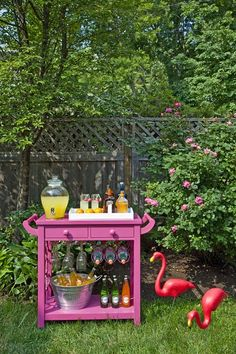 An awesome mini-bar that can serve guests inside or outside.