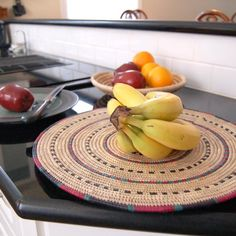 Handmade African woven plates. Can be used as serveware, chargers, trivets or even wall art. Hand-woven in Nigeria.