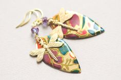 Colorful Dragonfly Earrings with Purple by MusingTreeStudios, $18.99 #handmade #jewelry #etsy