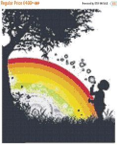 Sale 10% Off Rainbow Sillhouette 14 Count Cross Stitch Chart / Kit by BluebellThreads on Etsy https://www.etsy.com/listing/264004243/sale-10-off-rainbow-sillhouette-14-count