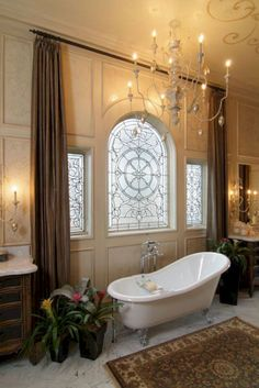 Leaded glass design is a great alternative window treatment for bathrooms. Another window design option that allows light in while providing privacy. Bathroom Window Glass, Bathroom Windows, Dream Bathrooms, Beautiful Bathrooms, Luxury Bathrooms, Guest Bathrooms, Small Bathroom, Master Bathroom, Bathroom Ideas