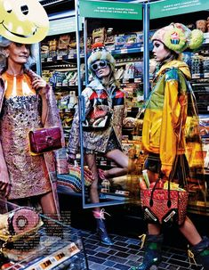 Catherine Loewe, Hanne Gaby Odiele and Lindsey Wixson for Vogue Japan