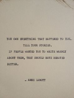 THE ANNE LAMOTT: Typewriter quote on 5x7 cardstock on Etsy, $5.00