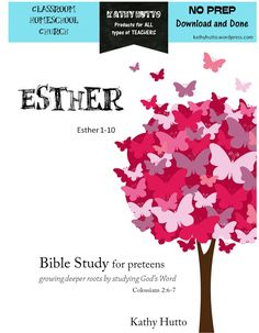 Bible Study for Preteens – Esther - A great first in-depth Bible Study for this age-group. Includes word checks with definitions to aid in understanding and relevant and thoughtful questions throughout. Short answer verses long writing assignments makes this study fun and not overwhelming. They will learn that God is writing a story for their lives too! Can use their own Bible to read the passages! It takes just two weeks to complete this Bible Study or 10 meetings for small groups.