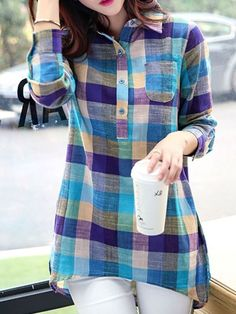 Casual Shirt Collar Long Sleeve Plaid Linen Blouse For Women Casual Shirts, Casual Outfits, Fashion Outfits, Fashion Blouses, Fashion Site, Dress Fashion, Men Fashion, Fashion Online, Women's Casual