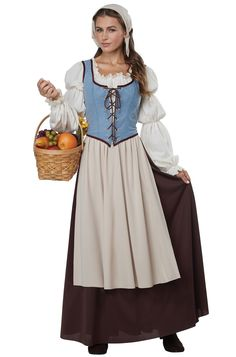 Whether you're a lovely medieval peasant girl, a sassy bar maiden, or a princess in peasant clothes, this cute costume is sure to get you noticed! This costume is perfect for blending in at your local Renaissance Faire. Costume Renaissance, Renaissance Dresses, Medieval Costume, Medieval Clothing, 1800s Dresses, Cute Costumes, Girl Costumes, Adult Costumes, Costume Halloween