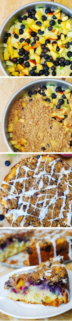 The perfect coffee cake for the summer: with blueberries, apples, and peaches!  With extra crumb topping! JuliasAlbum.com | #cinnamon #vanilla_glaze #summer_recipes
