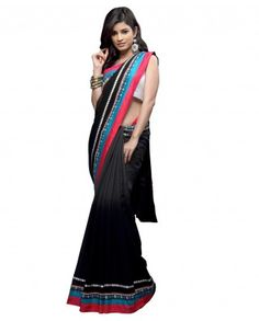 $212Drape this sari with pretty cool colors of black, fuschia and green. Cotton printed fabric is used to make the sari more creative. Border is made with pearl and sequins work. Zari thread is used to give different motifs.    Color-Black, red and green  Material-Georgette ,raw silk and cotton  Work-Pearl, sequins and zari  Slight variation in color is possible.