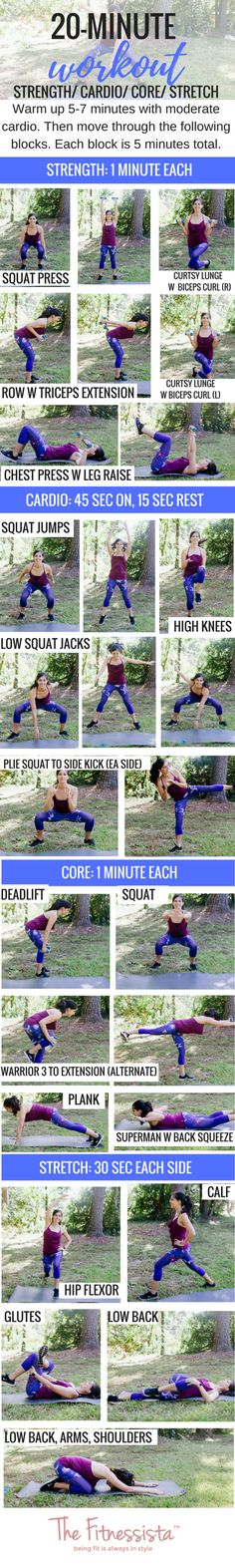 20 minute workout you can do anywhere! Get cardio, strength, core and stretching in 20 minutes with a pair of dumbbells. fitnessista.com