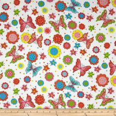 Fabri-Quilt Cuddle Flannel Butterflies and Flowers White $7.98/yd