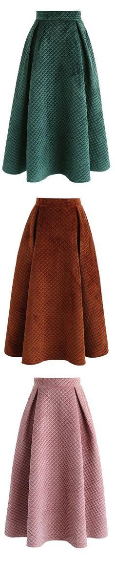 Fancy Sheen Quilted Velvet Skirt in Green/Caramel/Pink : Fancy Sheen Quilted Velvet Skirt in Green/Caramel/Pink Skirt Outfits, Cute Outfits, Velvet Sweater, Office Christmas, Christmas Gifts, Christmas Jokes, Cheap Christmas, Grinch Christmas, Christmas Door