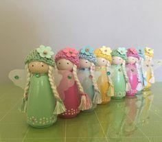 Wood Peg Dolls, Clothespin Dolls, Doll Crafts, Diy Doll, Flower Fairies, Fairy Dolls, Miniature Dolls, Barbie, Handmade Dolls Patterns