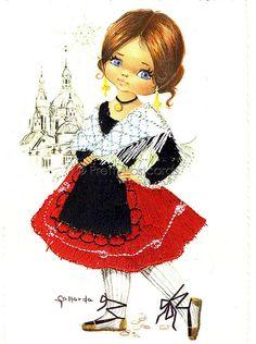 Postal del bordado observado grande de la vendimia por Gallarda, Niña en el traje tradicional español