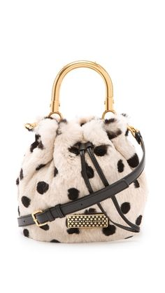 Marc by Marc Jacobs Too Hot To Handle Fur Little Drawstring Bag in dyed rabbit, leather with metal handles