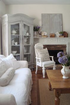 Gray armoire - I like this furniture arrangement - could do this at my house.