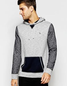 Image 1 of Abercrombie & Fitch Long Sleeved Marl Hoodie With Contrast Sleeves And Pocket