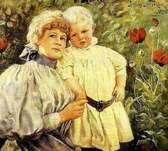 Jenny Nystrom - Self portrait with one of her children (1854 – 1946, Swedish)