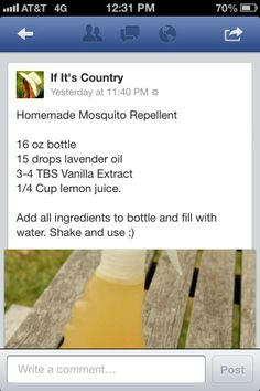 Homemade bug spray! It definitely works, and smells a whole lot better then regular bug spray!