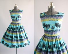 Vintage 1950s Dress / 50s Cotton Dress / Carolyn Schnurer
