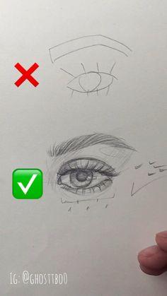 Art Drawings Beautiful, Art Drawings Sketches Simple, Pencil Art Drawings, Eye Drawing Tutorials, Art Tutorials, Drawing Techniques, Drawing Tips, Drawing Ideas, Eye Art