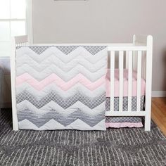 Welcome your one-of-a-kind young lady into the world with the Trend Lab Cotton Candy Chevron 3 Piece Crib Bedding Set . This sophisticated set features. Nursery Bedding Sets Girl, Nursery Furniture Sets, Nursery Crib, Nursery Ideas, Chevron Bedding, Linen Bedding, Bed Linen, Cot Bedding, Discount Furniture Stores