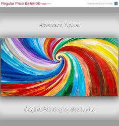 SALE Original Spiral Art painting huge Impasto por elsestudio