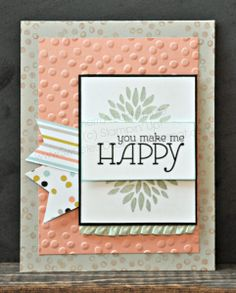 """you make me Happy - Sherri Eddleblute, Stamps: Happy Watercolor, Petal Parade (2014 Sale-A-Bration exclusive) Ink: Crisp Cantaloupe, Pistachio Pudding, Pool Party, Staz-On DSP: Sweet Sorbet (2014 Sale-A-Bration exclusive) CS: Basic Black, Crisp Cantaloupe, Sahara Sand, Whisper White Accessories: Big Shot, Decorative Dots textured embossing folder (2014 Sale-A-Bration exclusive), 3/8"""" ruffle stretch trim - Pistachio Pudding"""