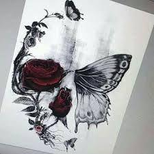 Bildergebnis für half butterfly half skull tattoo