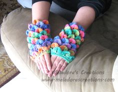 Crocodile Stitch Finger less Gloves - Free Crochet Pattern - by Meladora's Creations