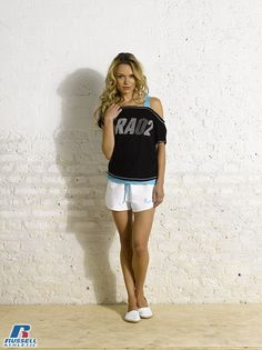 Russell Athletic Summer 2013 Ladies Collection #Russell #Athletic  #Russellbrands #Authentic #American #SportsWear #Apparel #Summer  #Collection #Sports #Wear #Sweatshirt #Womanswear Russell Athletic, Summer Collection, White Shorts, Sportswear, Bra, American, Sweatshirts, Lady, How To Wear