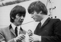 """George and John talking at the Auckland civic reception, 25 June Scan from """"Eight Days a Week: The Beatles' Tour of New Zealand by Graham Hutchins. Beatles One, Beatles Photos, John Lennon Beatles, Gentlemen Prefer Blondes, Lady And Gentlemen, Great Bands, Cool Bands, Richard Starkey, The Fab Four"""