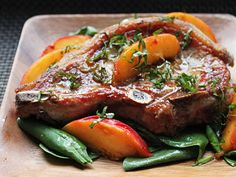 Pork Chops with Fresh Peaches and Basil Made 7/17/2014: Delicious! Set off the smoke detector. 2 large peaches was still too many peaches. We had this with baked potato.