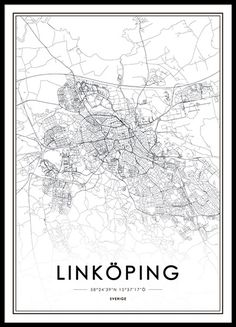 Print with a black and white map of Linköping. More posters and prints with cities can be found in our webshop where you buy online for a good price. We also sell affordable frames for your prints. World Map Poster, Map Posters, Map Painting, World Cities, City Maps, Buy Prints, Black And White Pictures, Map Art, Plans