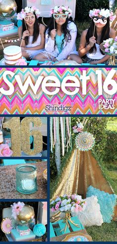 Do you have a Sweet 16 party to plan soon? If you're looking for a fun theme, I'm sharing my ideas on how to put together a boho themed sweet 16 party! Sweet 16 Birthday, 16th Birthday, Girl Birthday, Happy Birthday, Bohemian Birthday Party, Birthday Party Themes, Birthday Ideas, Sweet 16 Party Decorations, Sweet 16 Party Themes