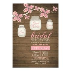 Country Mason Jar Bridal Shower Rustic Pink Personalized Announcement