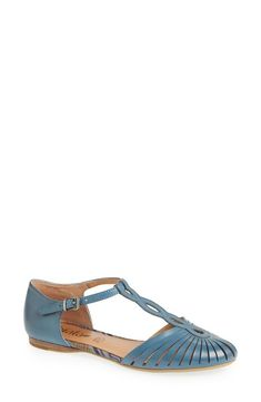 Cute blue cutout sandals for spring.