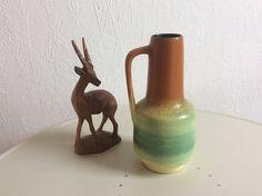 Vintage german ceramic vase lemon green brown mid century vase